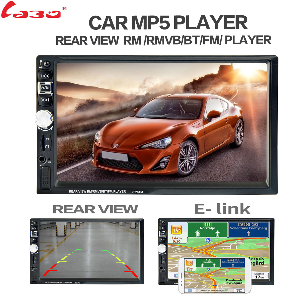 7 Touch Screen 7026 Car Bluetooth MP5 Player GPS Navigation Support TF USB AUX FM Radio Rearview Camera Steering Wheel Control car mp5 player with rearview camera gps navigation 7 inch touch screen bluetooth audio stereo fm function remote control