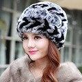 Продажа 2016 зима шапочки hat для женщин трикотажные рекс енот меховая шапка Двойной тяге цветок топ free размер повседневная женская шляпа