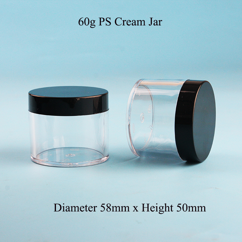 35pcs Lot 60g Plastic Bottle Facial Cream Jar 2OZ PS Cosmetic Container Packaging With Black Smooth