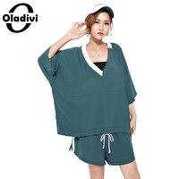 Oladivi Plus Size Women Fashion Ladies Sport Tracksuits Ladies Two Piece Suit Set T Shirt Shorts