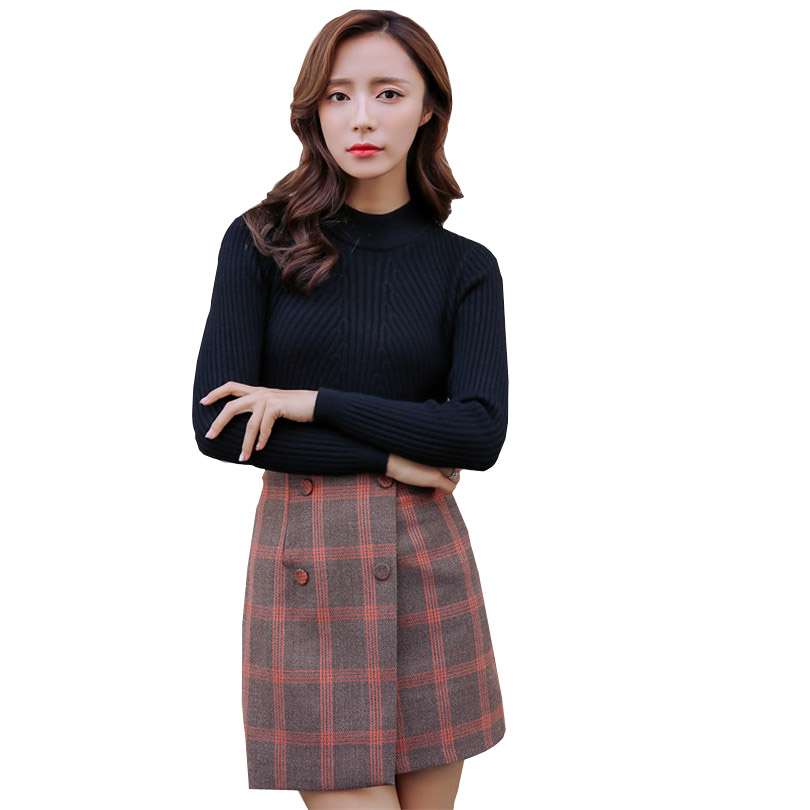 Vintage Women Skirts Skinny Plaid Tartan Mini Skirt Female A Line Split High Waist Fashion Korean Kpop D046 In From Womens