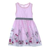 2017 New Baby Girl Derss Toddler Children Girls Sleeveless Floral Pink Dress Kids Party Princess Dresses