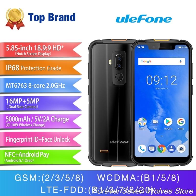 ULEFONE ARMOR 5 4G RAM 64G ROM MTK6763 Octa Core 5.85 pouces HD + plein écran IP68 étanche Android 8.1 4G LTE Smartphone