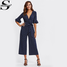 Sheinside Tiered Flare Sleeve Surplice Wrap Polka Dot Jumpsuit V Neck Half Sleeve Sexy Jumpsuit Women Elegant Jumpsuit(China)
