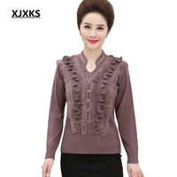 XJXKS Sweater Women New Arrival High Quality Cashmere Women Sweaters And Pullovers Knitwear Casual Solid Lady's Sweater