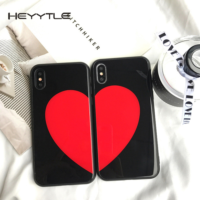 f5cbac07eb Heyytle Splice Love Heart Tempered Glass Case For Apple iPhone X 8 7 6S 6 Plus  Couple Lovers Patterned Capa Back Shell Cover