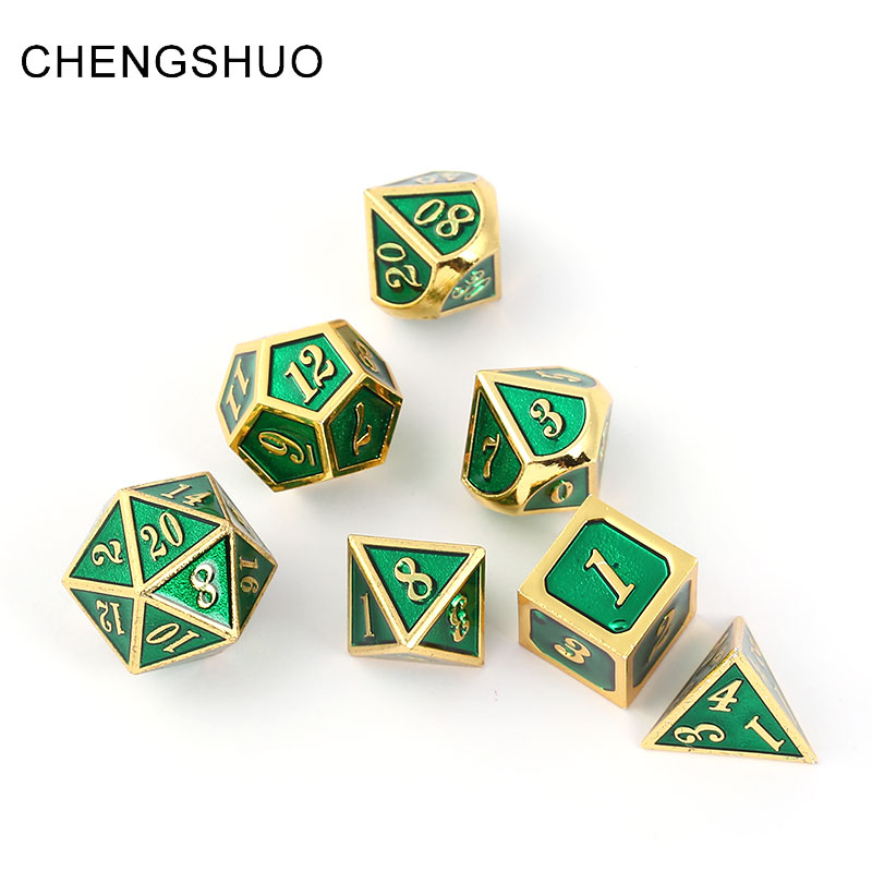 Chengshuo dnd dice metal rpg set polyhedral dungeons and dragons d20 10 8 12 table games Zinc alloy green digital dices pattern