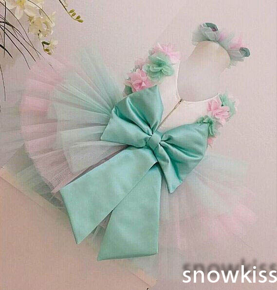 Puffy Cute Knee Length flower girl dresses with Big Bow cupcake baby tutu ball gown dress tiered tulle for 1 year Birthday party цены онлайн