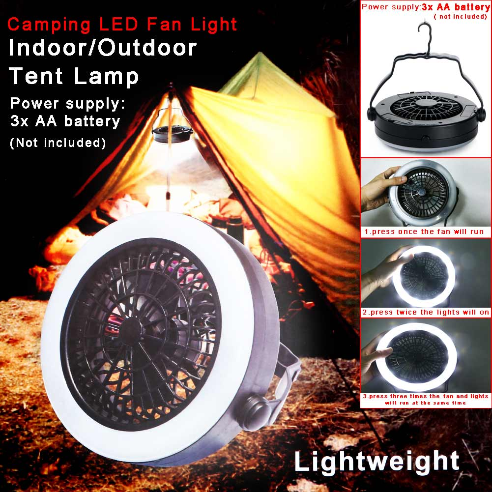 Portable Water Liquid Cooling LED Fan Light Lantern Tent Lamp with Hook 3 Mode for AA Battery Cooling Fan Outdoor Camping Travel