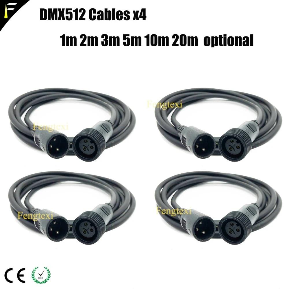 4xlot outdoor dmx extension cable ip65 stage par light waterproof power supply extension cables eu us uk plug main power cable