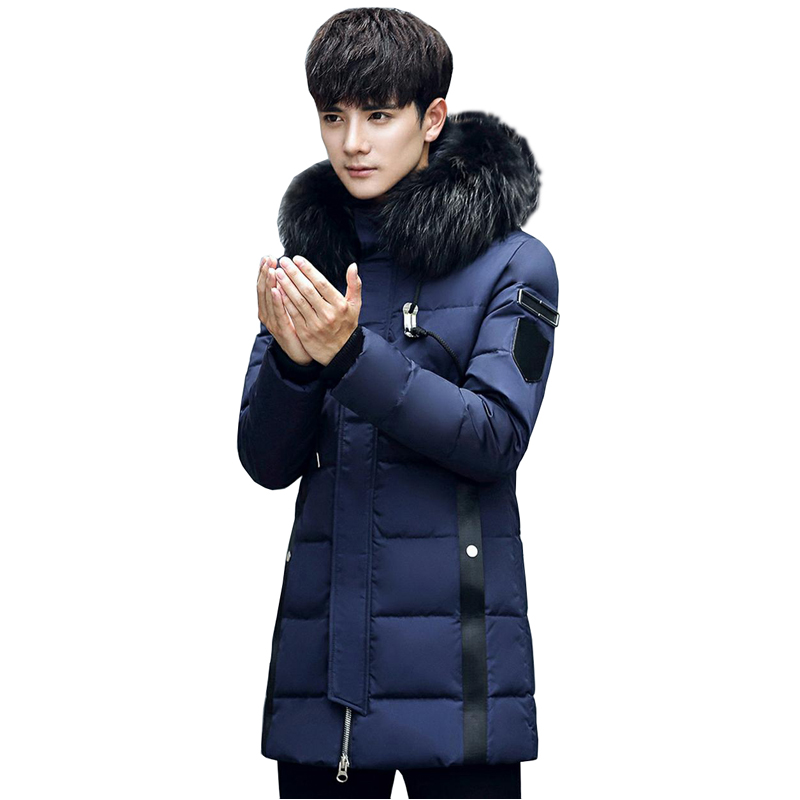 2018 winter new style mens hooded down jacket coat thick warm high quality luxury raccoon fur down jacket long coat
