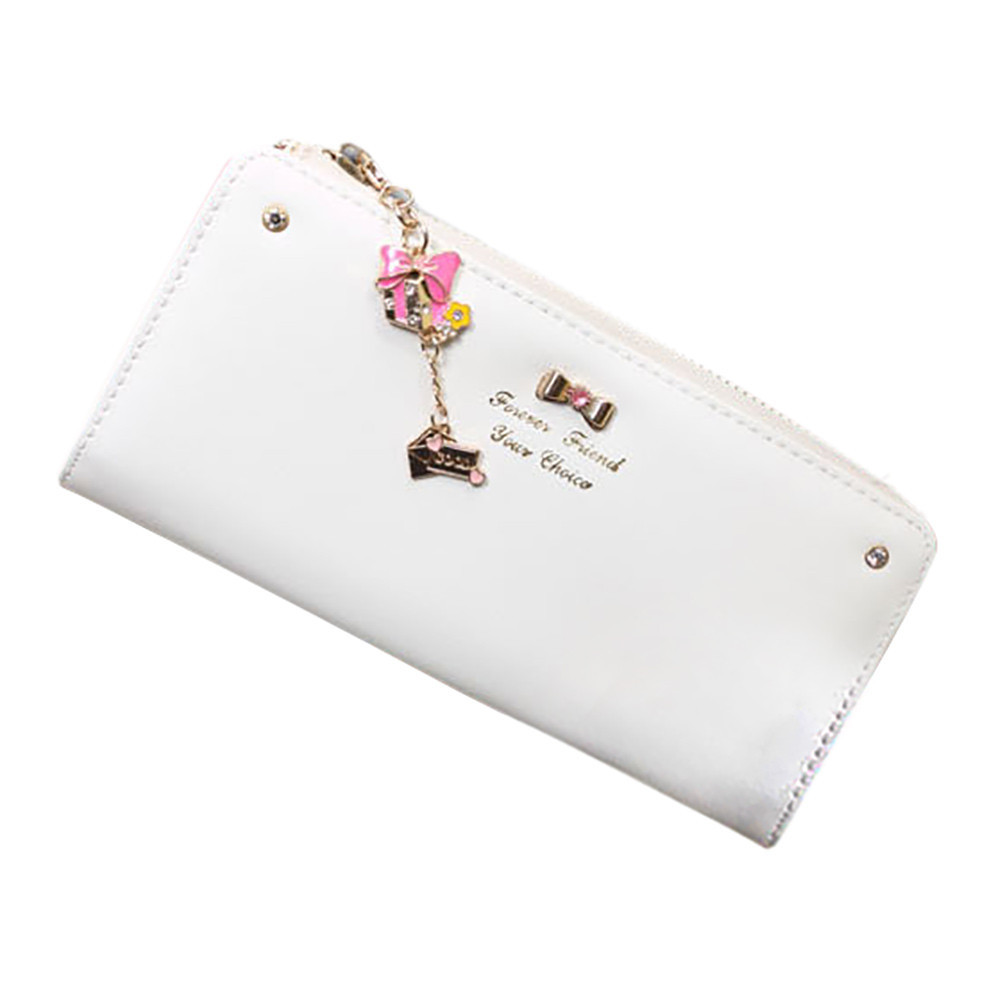 Hot Sale Women Pu Leather New Fashion Lady Elegant Lovely Clutch Wallet Female Long Card Holder Bow Pendant Money Purse  May31  new arrive 1pc women lady faux leather clutch envelope wallet long card holder purse hollow hot