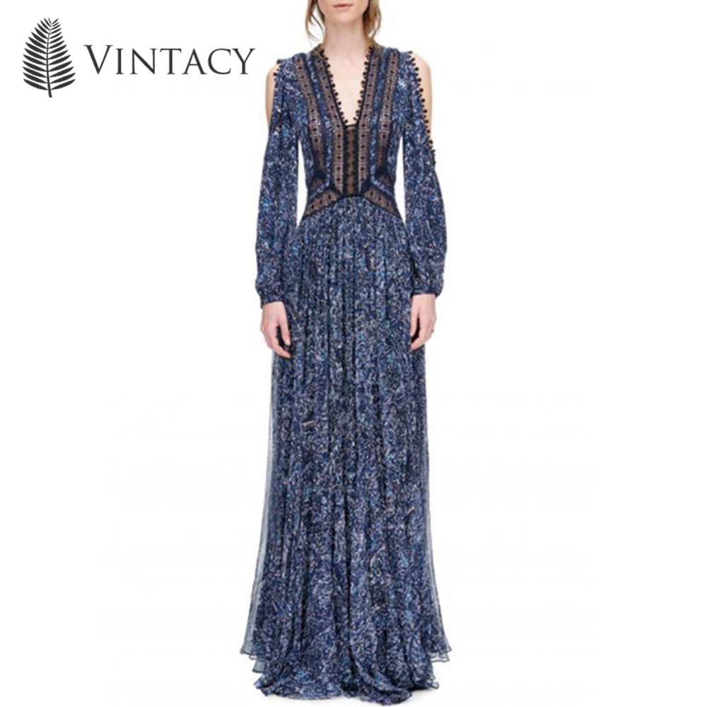 Women Casual Dress 2018 Autumn Expansion V Neck Western Style Cold Shoulder Swing Dress Patchwork Print Split Fashion Maxi Dress