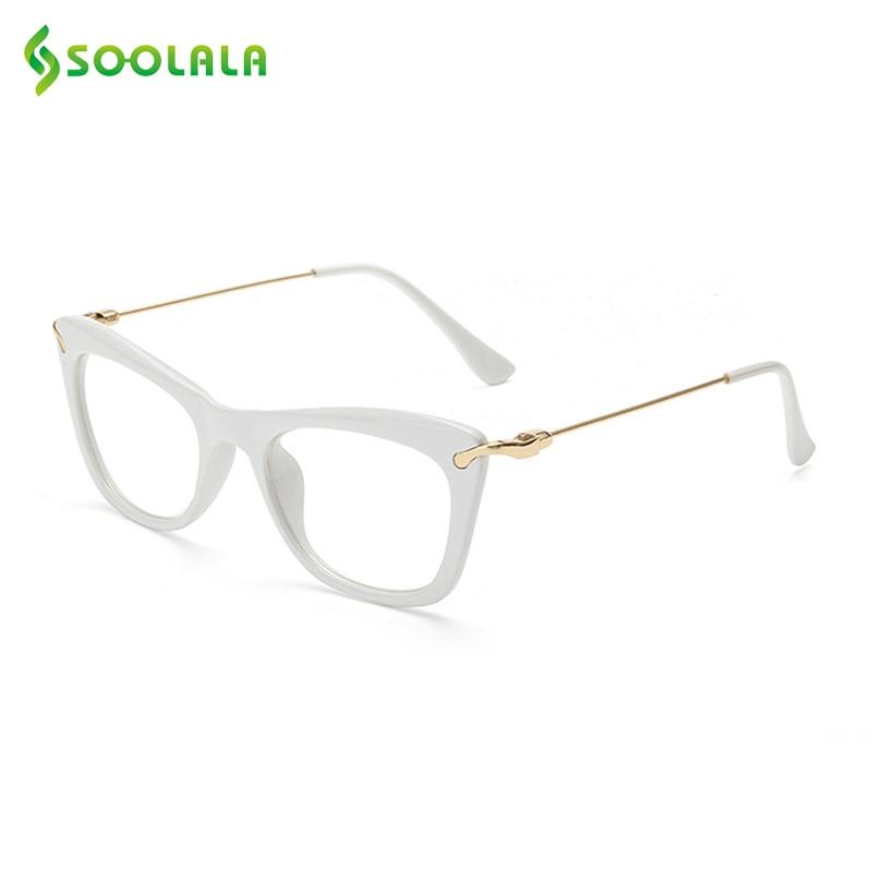 SOOLALA Damenmode Designer Cat Eye Brillen Rahmen mit Metall Arme ...