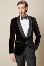 цена на Men's Velvet Black Prom Dinner Suit Blazer Shawl Lapel Groom Party Tuxedos Slim
