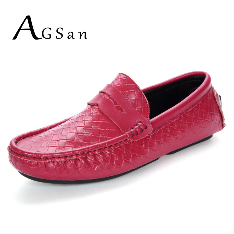 AGSan 2017 Autumn Men Genuine Leather Casual Shoes Penny Loafers Slip On Gommino Driving Shoes Black Blue Red Moccasins Flats 2pcs adjustable adjustable auto car side rear window sun shade black mesh car cover visor shield sunshade uv protection