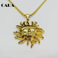 كارا جديد ذهبي اللون 316l المقاوم للصدأ قلادة الشمس وقلادة قلادة الحظ lucki للرجال نساء مجوهرات CARA0246