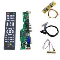 V56 Universal LCD TV Controller Driver Board TV VGA AV HDMI USB With 4LAMP Inverter 30pin