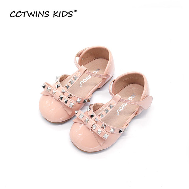 CCTWINS KIDS 2017 Summer Baby Girl Brand Rivet Children Fashion Mary Jane T-Strap Bow Stud Shoe Kid Party Princess Flat G1053