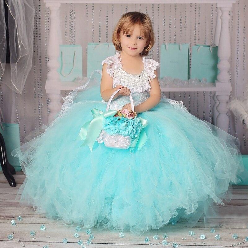 Горячая синий розовый лодыжки Длина партии MeshTulle красивые и щедрые рукавов цветок девочки платья кружева бальное платье для свадьбы