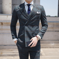 2019 Dark Green Suit Men Wedding 3 Pieces Terno Masculino Classic Men Plaid Suit British Style Mens Double Breasted Suits Q667