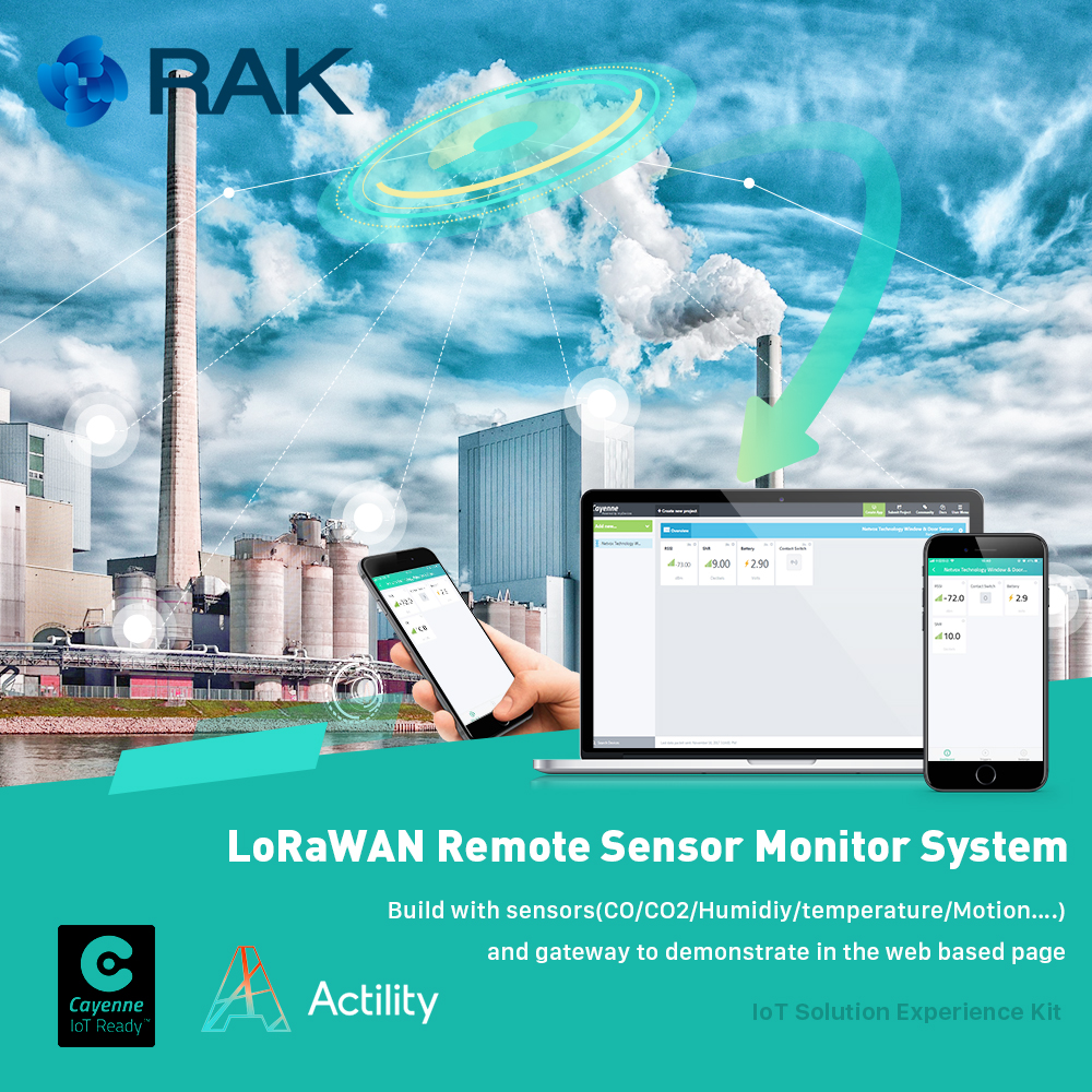 LoRaWAN Remote Sensor Monitor System build with sensors CO CO2 humidity Motion and gateway to demonstrate