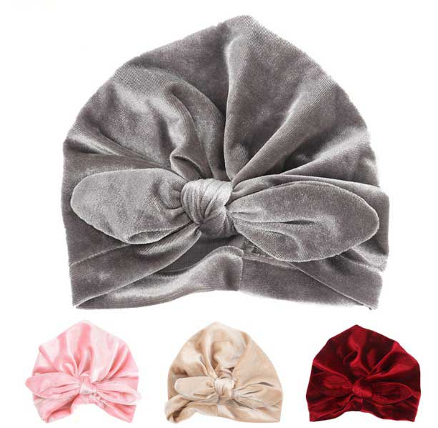 New Velvet Baby Hat for Girls Autumn Winter Baby Boy Cap Photography Props Elastic Infant Beanie Turban Hat Baby Accessories women new elastic cap turban muslim ruffle cancer chemo hat beanie scarf turban head wrap cap ladies india take photo headscarf