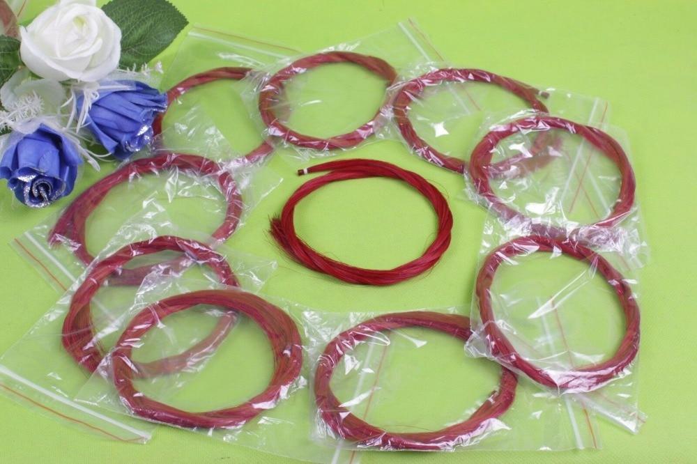 Yinfente 50 pcs violon arc violoncelle arc cheval cheveux couleur rouge 75-85 cm mongolie cheval queue violoncelle pièces & accessoires