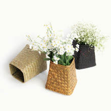 Pastoral Hand-woven Flower Basket Storage Desktop Finishing Pen Holder Decoration Ornaments Handmade Crafts European Vase