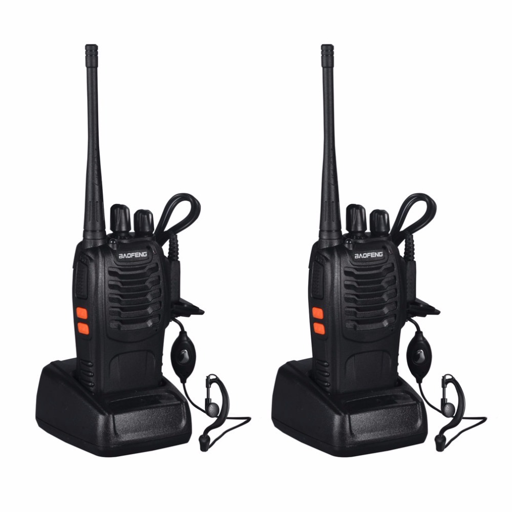 Baofeng BF-888S 2pcs VHF/UHF FM Transceiver 400-470MHz Rechargeable Walkie Talkie 5W 16Ch With Headset 2-way Radio