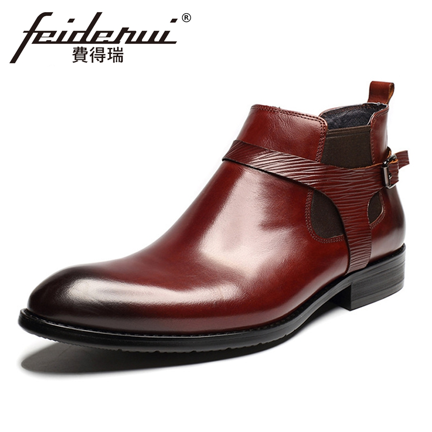 New Arrival Genuine Leather Men's Chelsea Ankle Boots Round Toe Low Heels Full Grain Leather Cowboy Riding Shoes For Man HMS17 ankle strap heels wrap full grain leather t low cut uppers british style high quality round toe single shoes with thick soles