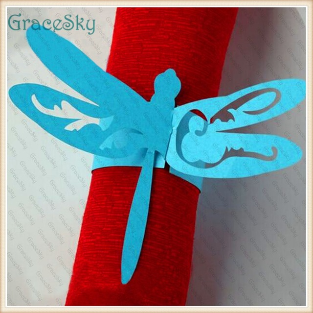 50pcs Towel Buckle Laser Cutting Dragonfly Wedding Decorations