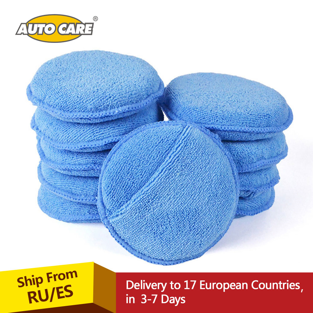Auto Care 10-Pack 5″ Diameter Soft Microfiber Car Wax Applicator Pads Polishing Sponges with pocket for apply and remove wax