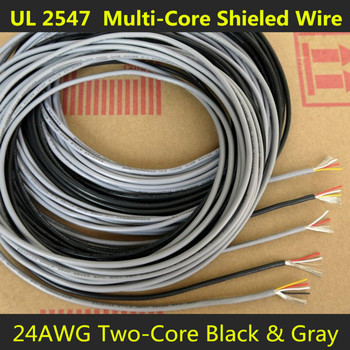 24AWG 2Cores Multicores Shielded Wires Tinned Copper Controlled Cable Headphone UL2547 Black & Gray color 1/5/20/50 Meters image