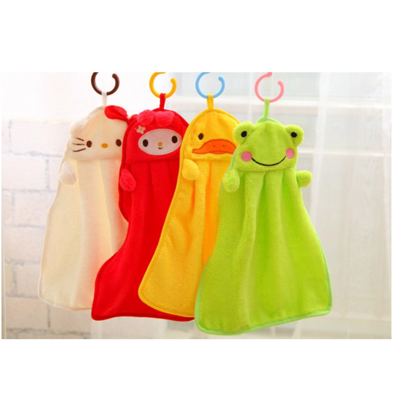Coral velvet creative cartoon animal hanging baby wipe hand wash bath towel ...