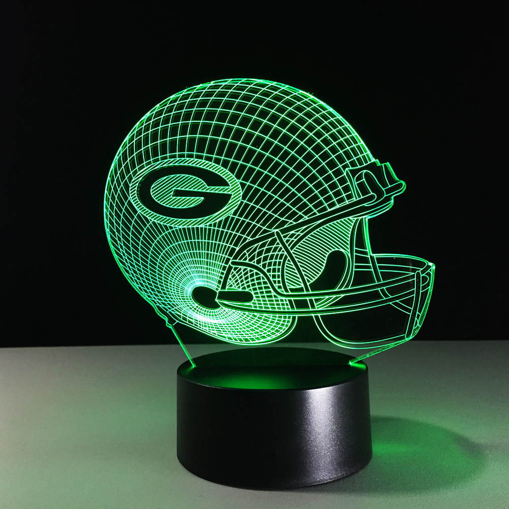 3D American Football Helmet Night Lights Sports Rugby Cap Desk Lamp Team Color Changeable Luminous Lampe Decor Gifts Sleep Light
