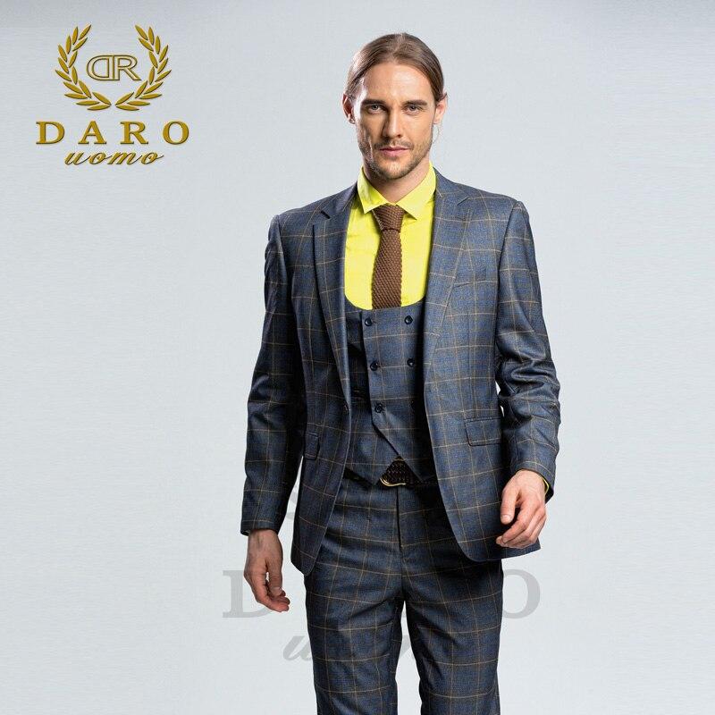 Даро 2018 новые мужские костюм 3 шт. мода плед костюм Slim Fit синий серый вино свадебное платье костюмы пиджак, брюки и жилет DRV-8038