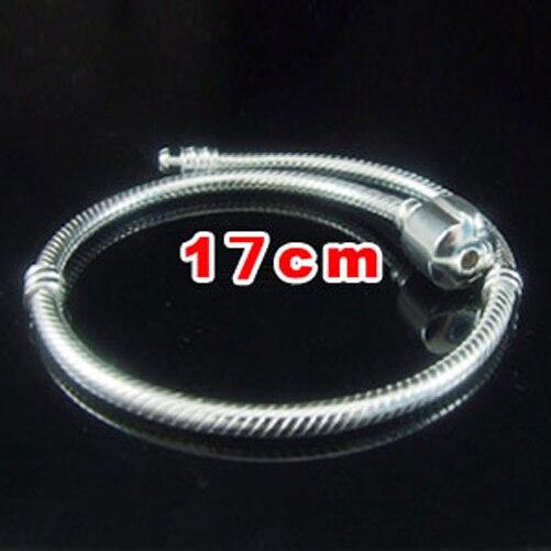 17 cm-22 cm 6 tailles authentique 925 argent Sterling Clip rond fermoir serpent chaîne Bracelets Fit perles breloque européenne SSPB703A