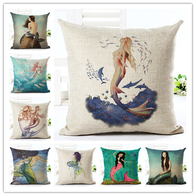 Creative Cartoon mermaid fashion printed Linen Square hugging Pillow Cover Bedding Set pillow case wedding gift decorative