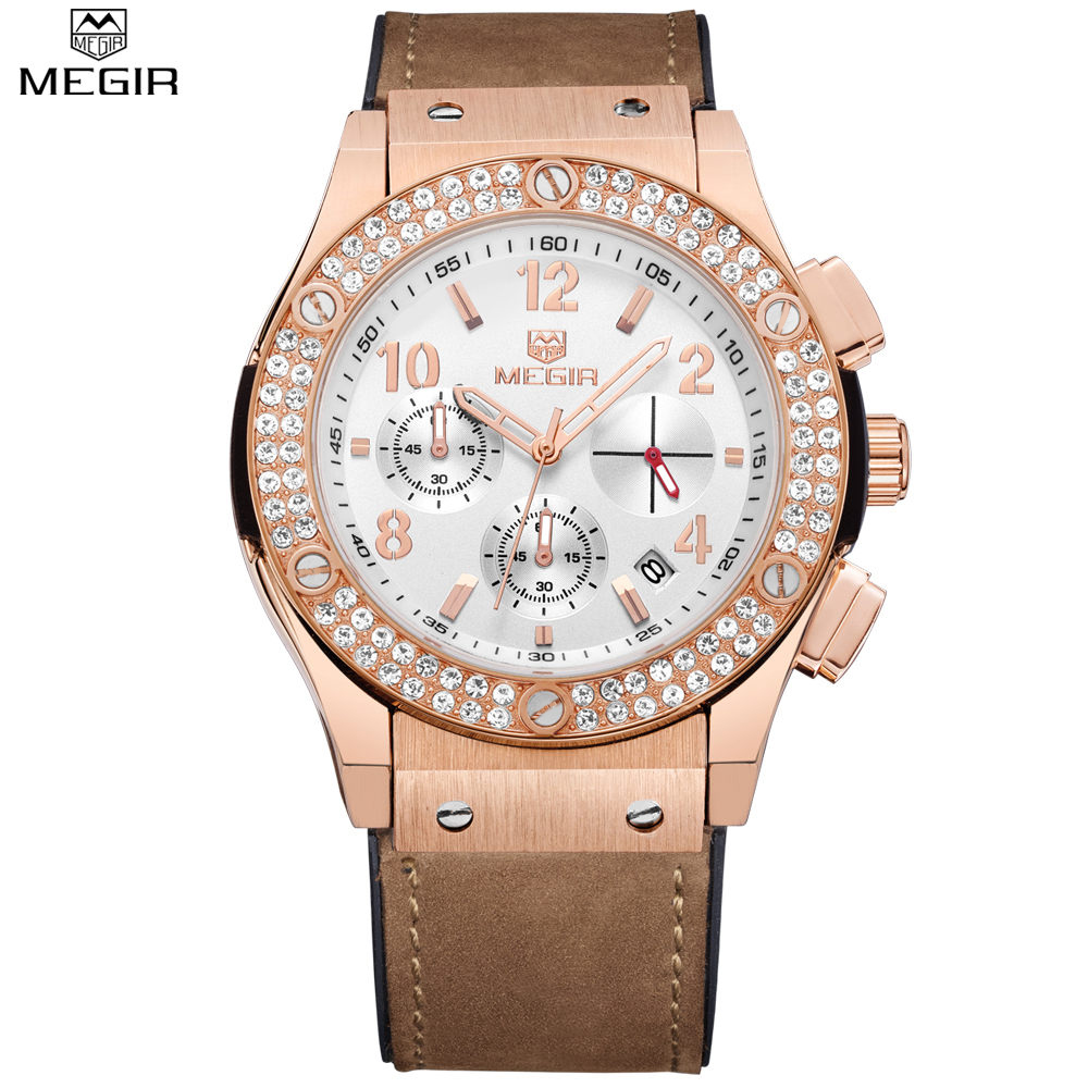 MEGIR Casual Man Dress Watch Rose Gold Diamond Crystal Watches Chronograph & Auto Date Leather Strap Army Military Wristwatch