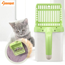 VOVOPET Pet Cat Litter Shovel with Waste Bags Plastic Sifter Kitten Sand Scoop Cats Poop Cleanning Neater Scooper Tool