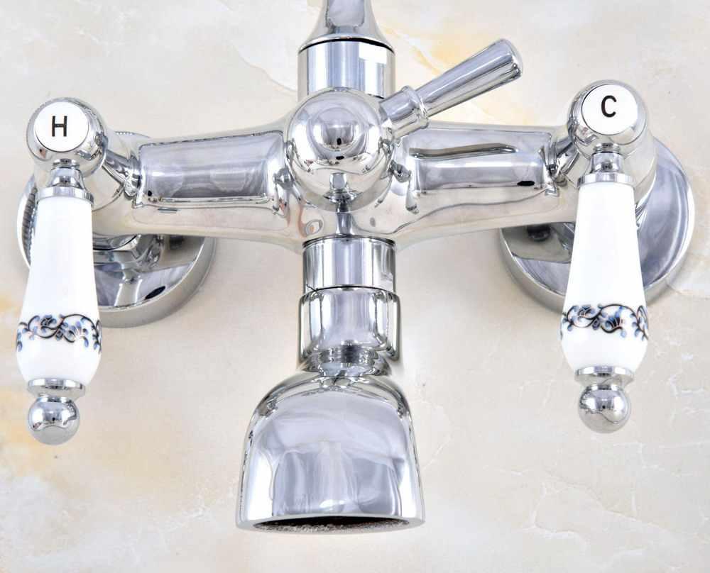 Mạ Crom bóng Đồng Đôi Gốm Tay Cầm Gắn Tường Móng Vuốt Chân Phòng Tắm Bồn Tắm Vòi Vòi nước Với Tay mtf867