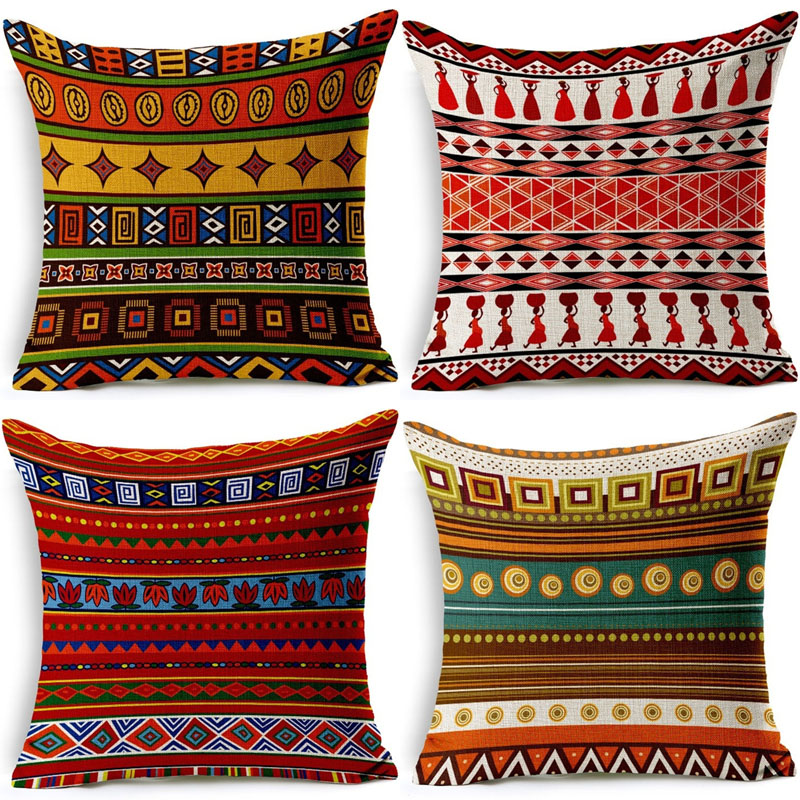 Vintage <font><b>Bohemian</b></font> Cushion Cover Geometric Pillowcase Cotton Linen Chair Seat Waist Square 45x45cm Pillow Cover <font><b>Home</b></font> Textile