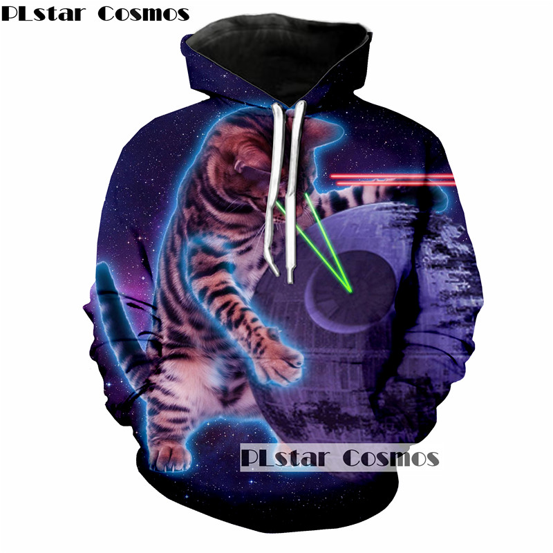 PLstar Cosmos Laser cat Print 3d Hoodies Men/Women Sweatshirt Hooded Pullover Galaxy Tracksuit size S-5XL drop shipping