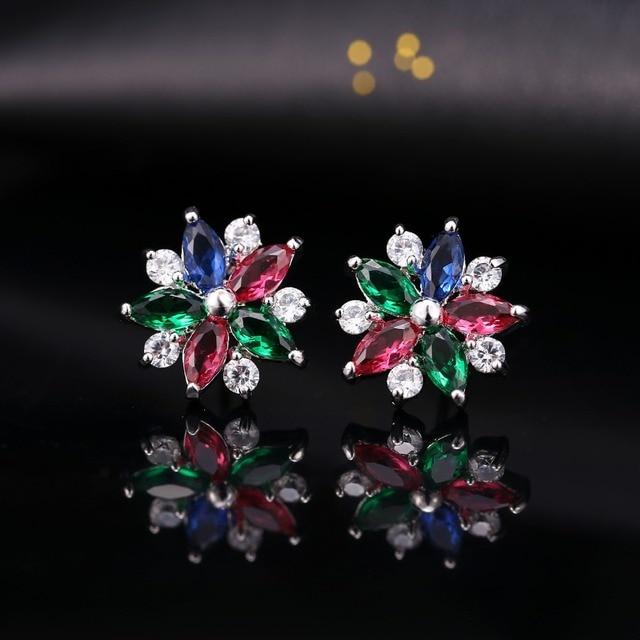 KOVTIA Charm Sparkling Snowflake Stud Earrings For Women Colorful Rhinestone CZ Jewelry Earrings Brincos Bijouterie