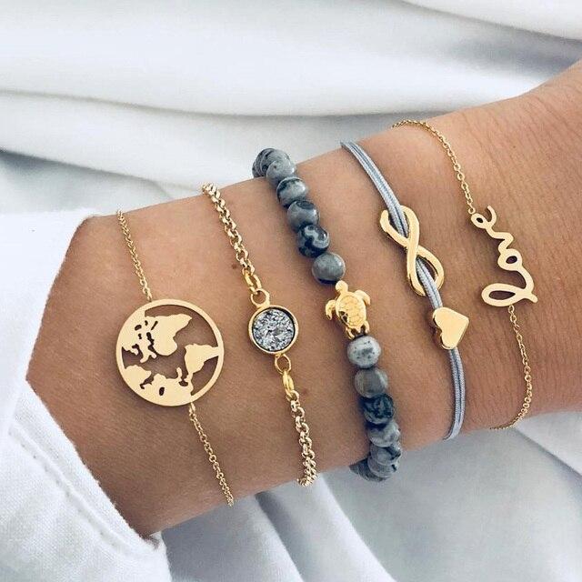 Fashion Shell Cross Bracelets Bangles for Woman Golden Hollow Love Conch Fishtail Round Beads Bracelet Set Female 2019 Jewellery