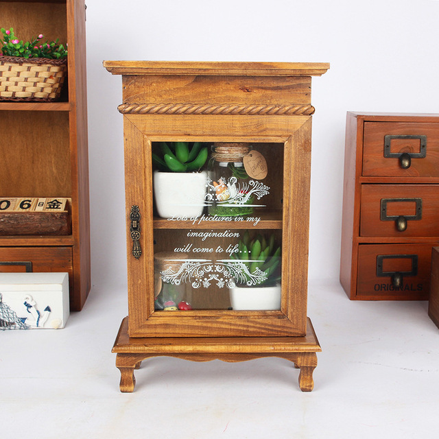 2015 New Zakka Home Decor Grocery Retro Wooden Storage Cabinet With