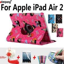 Caso para Apple iPad Air2 carácter Historieta de la Cubierta Elegante para el ipad Aire 2 9.7 Fundas Capa con el Caso Del Soporte Protector para el ipad 6 9.7