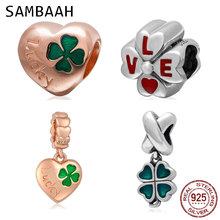 Sambaah Lucky Clover Heart Charm Pendant 925 Sterling Silver Enamel Four Leaf Clover Beads fit Original Pandora Spring Bracelet geoki 925 sterling silver rose gold white cubic zirconia clover silicone safety chain fit original pandora bracelet leaf charm