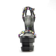 Pink Palms women summer shoes strange style high heels shoes wedge sandals colored rivets peep toe strap sandals